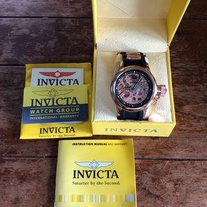 Nib Invicta Rose Gold & Black Russian Diver Watch
